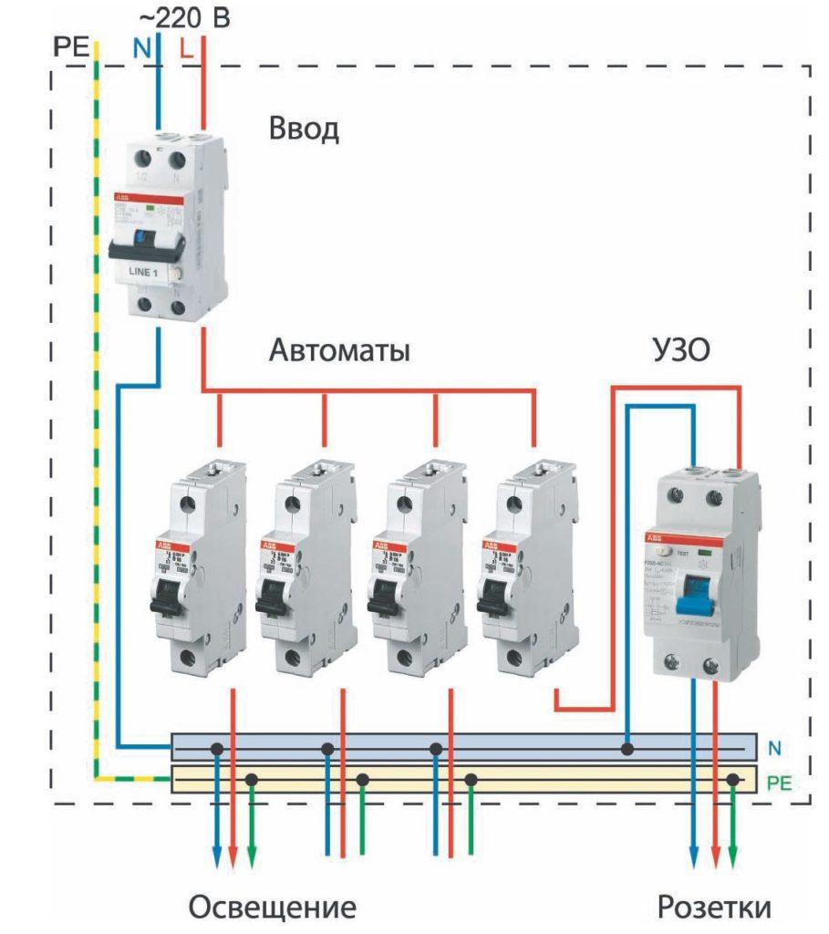 Схема подключения трехфазного автомата узо